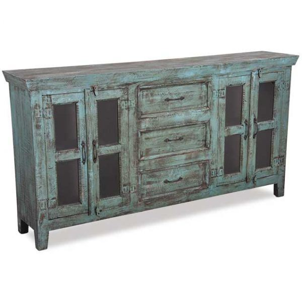 VINTAGE 4 DOOR SIDEBOARD IN WASHED BLUE